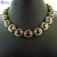 Hot!! Luxurious Diamond & Ruby Gold Plated Silver Necklace, Victorian 925 Sterling Silver Jewelry