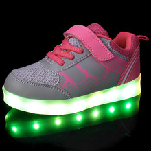 2017 kids LED lights USB colorful rechargeable low top shoes