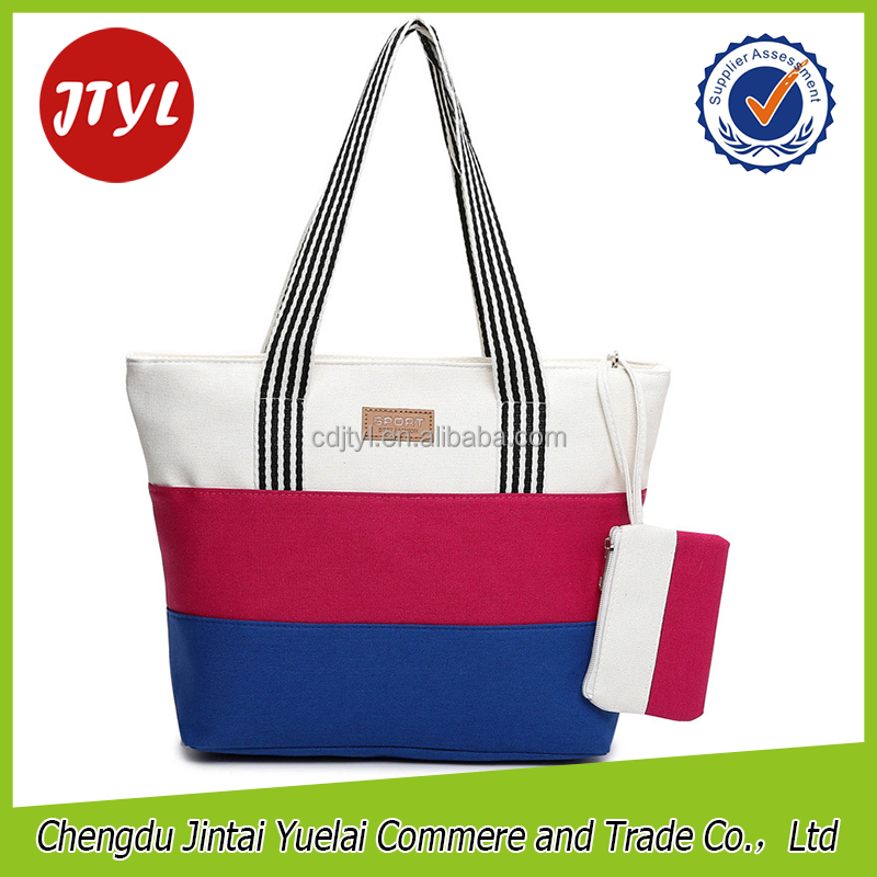 Foldable College Canvas Printed Hand Clutch Tote Bags for Girls Women foldable Lady Shopping Handbags Three Colors Stripes