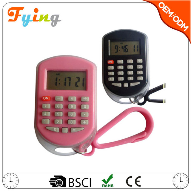 promotional 8 digit mini clock calculator with key chain