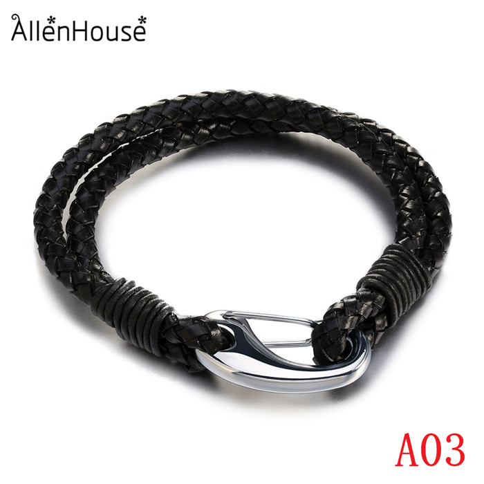 2017 New Arrival Fashion Double Wraps men Stainless Steel Lobster Leather Bracelet