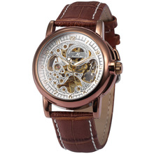 KS Mens Skeleton Automatic Mechanical Watch Brown Leather Dress Wrist Watch