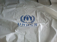 Make to order oem stocklot white pe tarpaulin with UN logo wholesale cheap price strong quality laminated woven fabric china
