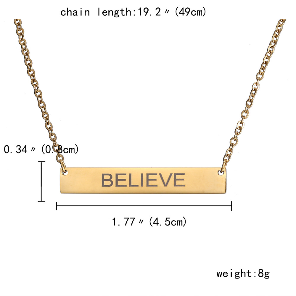 New Personalized Blank Bar Pendant Necklace 3 Colors Stainless Steel Custom Name Plate Necklace Can Engrave Word Letters Jewelry 1