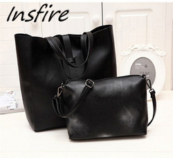 Wholesale price bag set black 2 in 1 women messenger bags shoulder tote bag