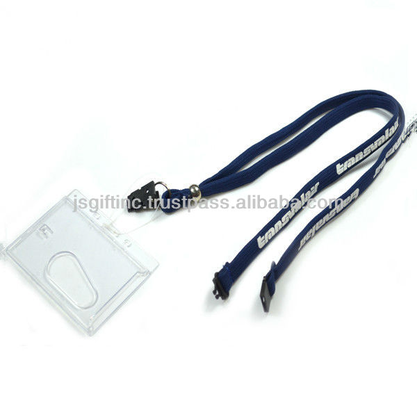 Polyester tube webbing lanyard with rigid cardholder holder