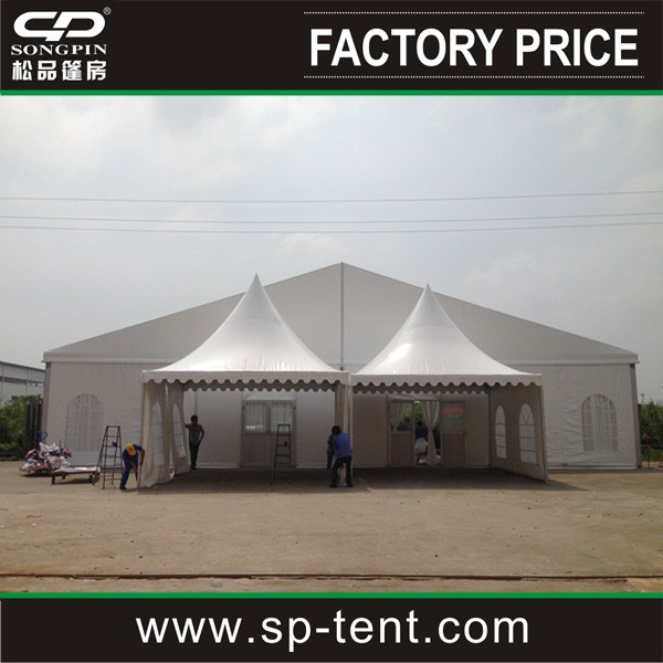 10x30m clear span structure tent with half of an Octagon 10m diameter decking end