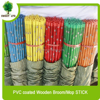 Panda design pvc coated wooden broom stick for Indian market