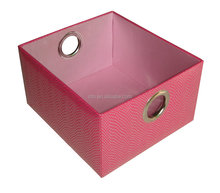 Red medium size fancy PU-flocked gift baskets / tray for wine / candy / gift packaging and sales in supermarket