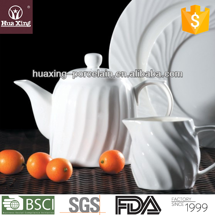 Huaxing oem factory embossment super white porcelain grace tea ware with plates