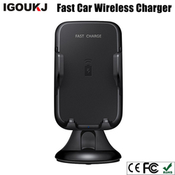 Charging Fast For iphone X for samsung s8 s9 Hot sale 9V 2A Qi Wireless Car Charge phone holder car wireless charger