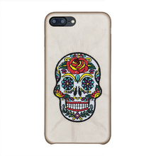 Custom Case for iPhone 7 plus , Skull White Cat Animal Premium Silicon leather Phone Case for iPhone 8 plus