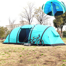 Four season double layer inflatable 8 person tent for outdoor camping / hiking