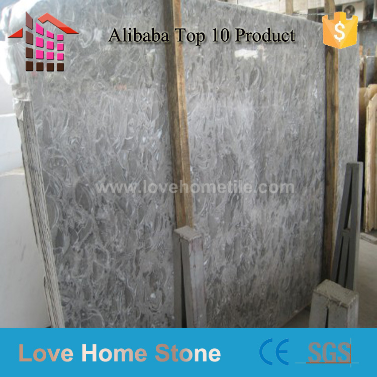 Alibaba Best Wholesale grey cloud marble tile,natural fossil stone tile