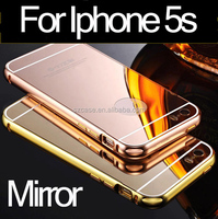 Luxury aluminum metal bumper mirror case for iphone 5 pc back cell phone case for iphone 5s