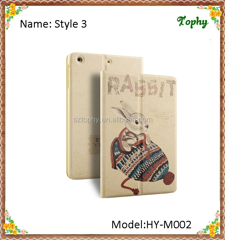 For Kids Fashion Cute Straw Hat Rabbit Pattern Slim Folio Fold Smart Cover Leather Flip Cases Tablet Cover For iPad mini 1 2 3