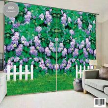 All in One Window Curtain Set with Purple Big Leaf Hydrangea Pattern