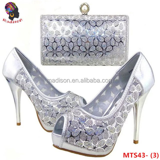 Gzmadison Sexy Hot evening high heels with stones matching italian shoes and bag set for pretty lady/MTS43-3 Silver