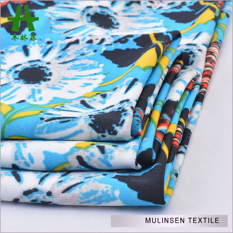 Mulinsen Textile 96% Polyester 4% Lycra Single Jersey Flower Printed ITY Span Knit Fabric