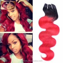 Body wave hair bundles European human hair weaving ombre1b/rose red color for wig making