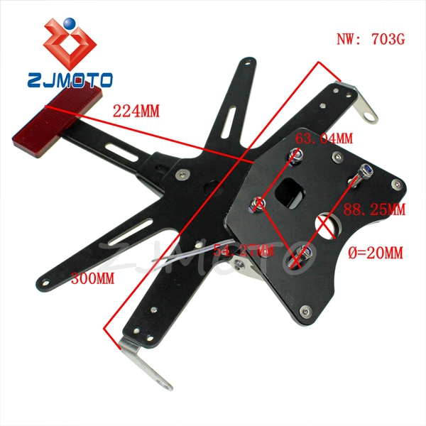 ZJMOTO Street Bike License Number Plate Bracket With License Lamp Custom Aluminum Talt Eliminator