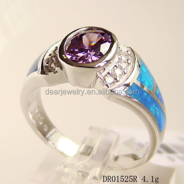 925 Sterling Silver Opal Rings Blue Fire Opal For Engagement Mystic Topaz Opal Jewelry DR01525R