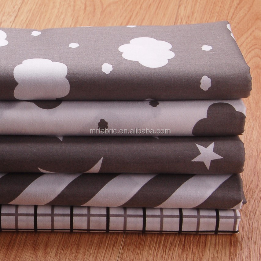 Grey series cotton fabric 100% cotton cartoon printed indonesia cotton printed fabric