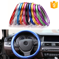 38cm Car Universal Leather Steering Wheel Cover Interior Accessories For Kia Toyota BMW AUDI VW Opel Hyundai Mazda Skoda Renault
