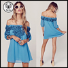 Fashion Off Shoulder Blue Lightweight Chiffon Mini Dress with Mexican Embroidered designer dresses