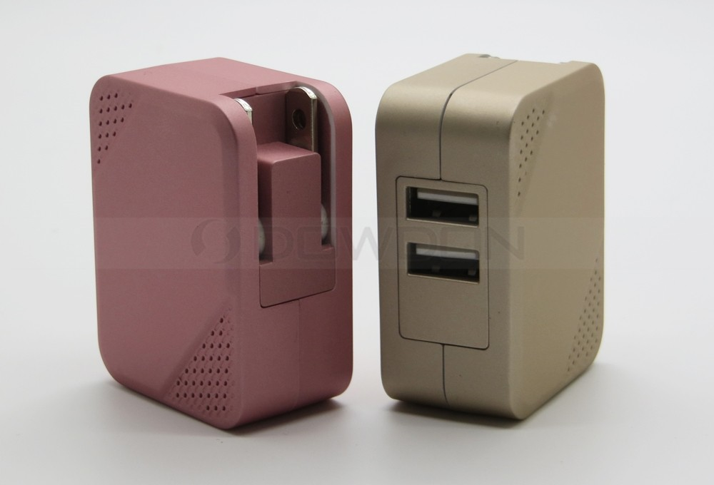 5V 2.1A AC Power Adapter Dual USB Travel Wall Charger Foldable Plug for iPhone iPad,Samsung