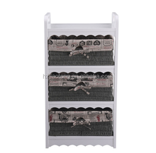 Home furniture antique wooden white cabinet with paper woven baskets