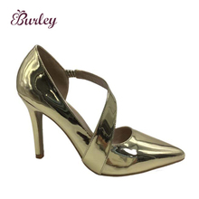 Fashion gold latest design sexy lady high heel pump shoes women shoes with belt
