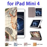 2015 New Hot Map Pattern Leather Tablet Case for iPad Mini 4
