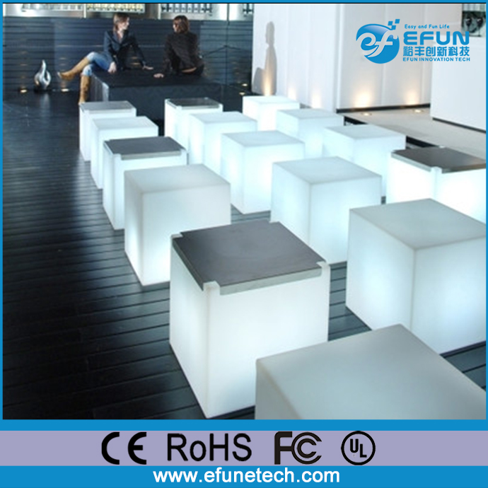 remote control wireless battery operated waterproof led mood light white cube table