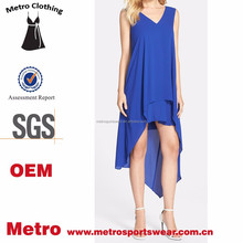 Ladies OEM Factory Royal Blue Knee Length High Low Midi Dress