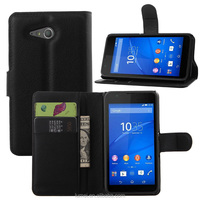 Stand Leather Wallet Case Cover For Sony Xperia E4G