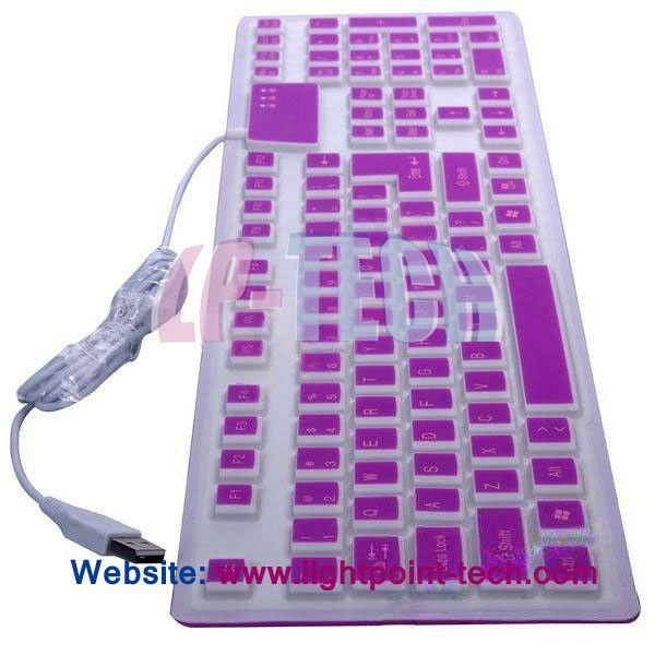 Colorful waterproof foldable USB silicone flexible keyboard