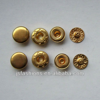 Golden color brass snap button 10mm