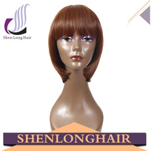 Short style heat resistant synthetic hair wig, for white women synthetic and human hair mix lace wig