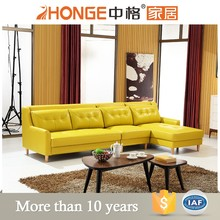 african living room furniture in light yellow wooden sofa set designs soft cushion