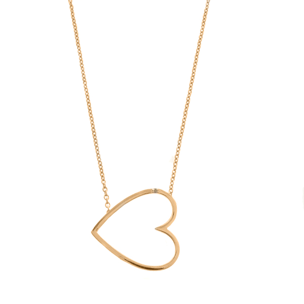Ladies style gold over 925 silver sideways heart charm pendant necklace