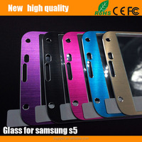 2.5D Color brushed metal Tempered Glass Screen Protector guard for Samsung S5