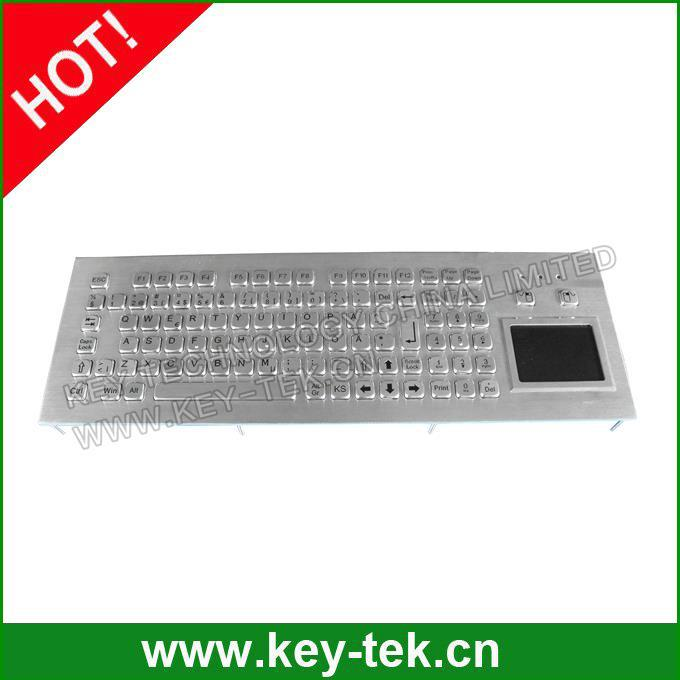 Industrial metal kiosk keyboard with sealed touchpad