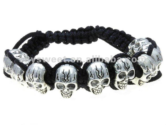 2012 new fashion skull Ghost mans lucky bracelet,Ghost bead bracelet,beaded honesty bracelet(SWNBR141)