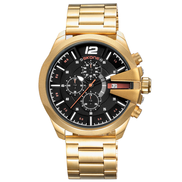 Guangzhou Factory Custom Your Logo Gold Men Watch with Minute Seconds Dial