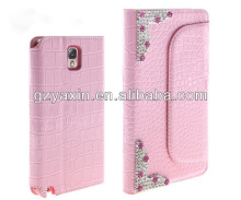 Beautiful Factory Sales PU Leather Cover for samsung galaxy note 3 with kickstand fuction