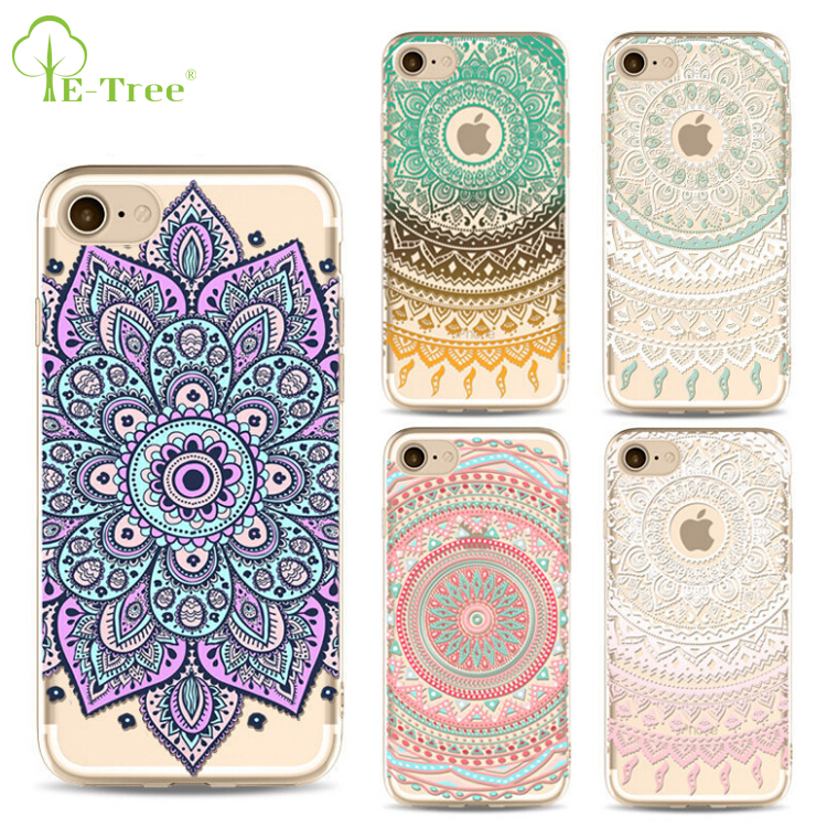 IN STOCK customized mandala ultra thin soft TPU phone back cover case for iphone 7, UV painted TPU skin cover for iphone 7