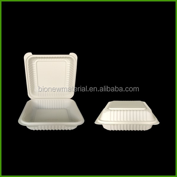 Clamshell hinged biodegradable food container for steak