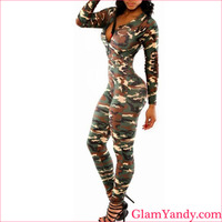 High quality ladies camo long sleeve cheap summer one pieces jumpsuit