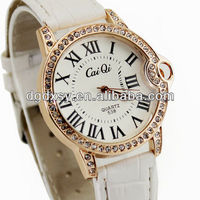 White Luxury Crystal Lady Girls Woman Gifts Fancy Bracelet Quartz Wrist Watch